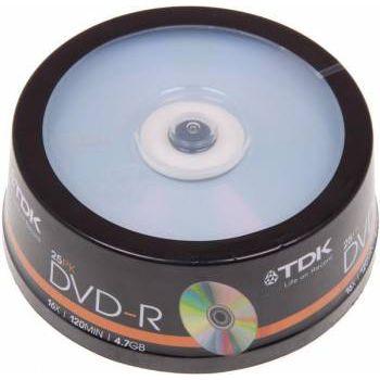 TDK Диск DVD-R 4.7Gb 16x Cake Box (25шт) (T19416)