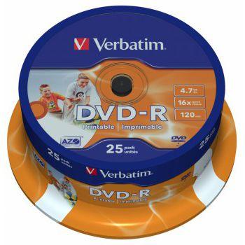 Verbatim ���� DVD-R 4,7Gb 16x Cake Box Printable (25��) 43538