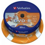 Диск Verbatim DVD-R 4,7Gb 16x Cake Box Printable (25шт) 43538