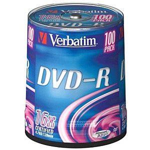 Диск Verbatim DVD-R 4,7Gb 16x Cake Box (100шт) 43549