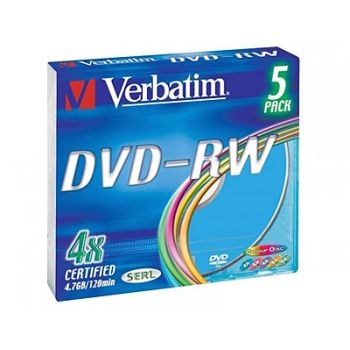 Диск Verbatim DVD-RW 4.7Gb 4x Slim Color (5шт) 43563
