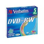 Verbatim ���� DVD-RW 4.7Gb 4x Slim Color (5��) 43563