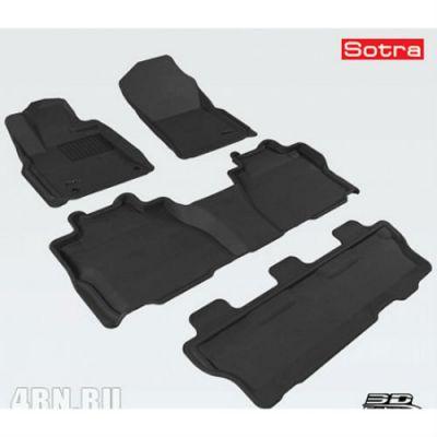 Коврики в салон Sotra текст.Toyota Sequoia II 2012-> LINER 3D Lux с бортиком черные ST 74-00536