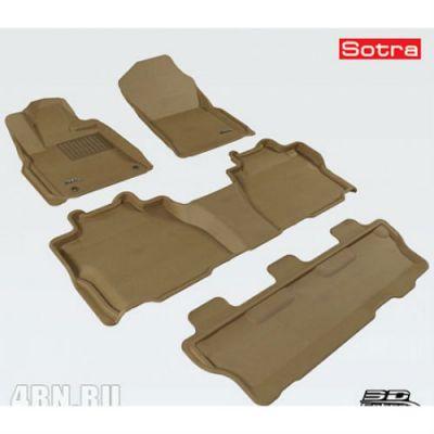 Sotra Коврики салона текст.Toyota Sequoia II 2012-> LINER 3D Lux с бортиком бежевые ST 74-00534