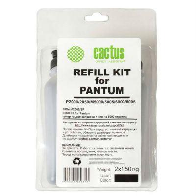Расходный материал Cactus Тонер-картридж для принтера Pantum + чип ,черный (флакон 2x150гр) FillSet-P2000/SF