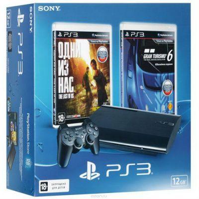 """Игровая приставка Sony PlayStation 3 Super Slim 12 ГБ + 2 игры """"Одни из нас"""" ,""""Gran Turismo 6"""" PS719888031"""