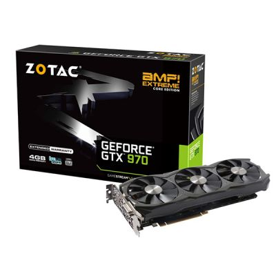���������� Zotac 4Gb PCI-E GTX970 AMP Extreme Core Edition GDDR5, 256 bit, HDCP, DVI, HDMI, 3*DP, Retail ZT-90107-10P