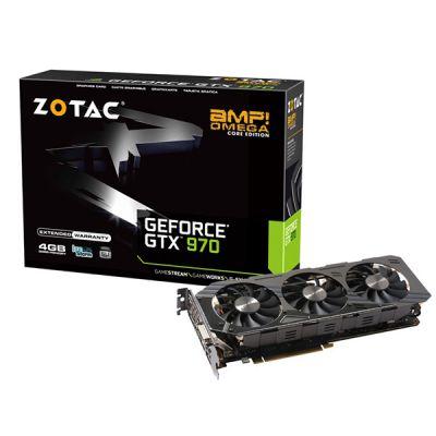 Видеокарта Zotac 4Gb PCI-E GTX970 AMP Omega Core Edition, GDDR5, 256 bit, HDCP, DVI, HDMI, 3*DP, Retail ZT-90106-10P