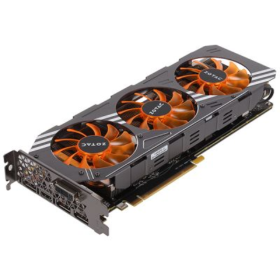 Видеокарта Zotac 4Gb PCI-E GTX980 AMP c CUDA GDDR5, 256 bit, HDCP, DVI, HDMI, 3*DP, Retail ZT-90204-10P