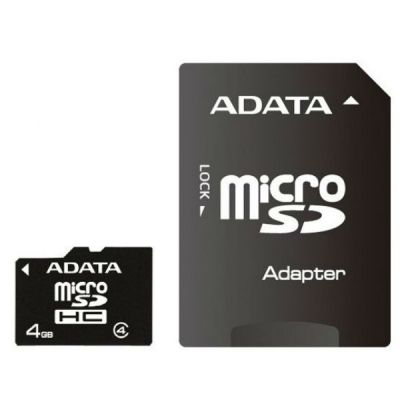 ����� ������ ADATA 4GB MicroSDHC class4 + SD ������� AUSDH4GCL4-RA1