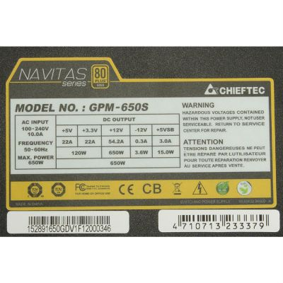 Блок питания Chieftec 650W Retail GPM-650S [Navitas]