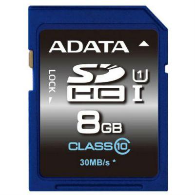 Карта памяти ADATA 8GB SDHC Class 10 UHS-I ASDH8GUICL10-R
