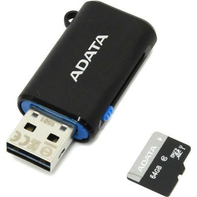 Карта памяти ADATA 64GB Premier microSDXC Class 10 UHS-I U1 (OTG/USB Reader) AUSDX64GUICL10-ROTGMBK