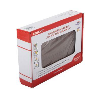 """Orient Внешний бокс для 2.5"""" HDD USB 2.0 отделка под кожу крокодила, цвет коричневый 2508U2"""