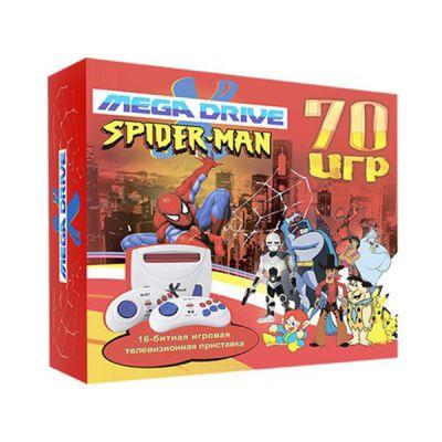 """Игровая приставка SEGA 70 игр (прист., 2 дж., AV-кабель, адапт.) MegaDrive """"Spider-man"""""""