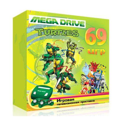 """Игровая приставка SEGA 69 игр (прист., 2 дж., AV-кабель, адапт.) MegaDrive """"Turtles"""""""