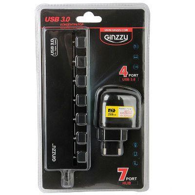 Аксессуар Ginzzu USB-концентратор GR-388UAB