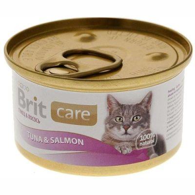 Консервы Brit для кошек Тунец и лосось 80 г