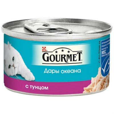 Консервы Gourmet Дары океана для кошек кусочки в соусе Тунец 85г (упак. 12 шт) (12263798)