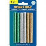 Клей Практика цветные, 3 цвета, металлик, 11 х 100 мм, 6шт / блистер 649-356