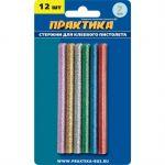 Практика Клей цветные, 6 цветов, металлик, 7 х 100 мм, 12шт / блистер 649-349