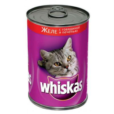 Консервы Whiskas для кошек желе говядина печень 400г