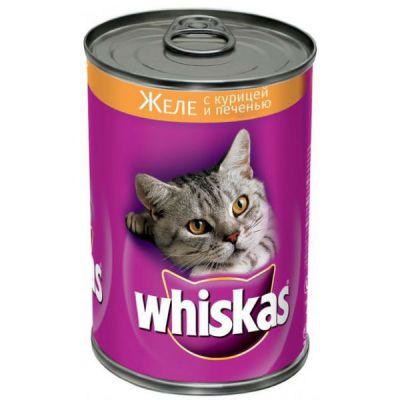 Консервы Whiskas для кошек желе курица печень 400г
