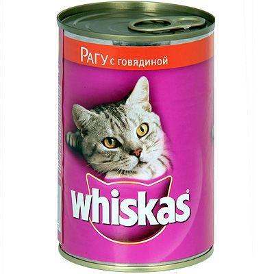 Консервы Whiskas для кошек рагу с говядиной 400г