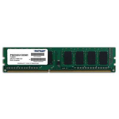 Оперативная память Patriot DDR3 1333 (PC 10600) DIMM 240 pin, 1x2 Гб, 1.5 В, CL 9 RTL без радиатора PSD32G133381
