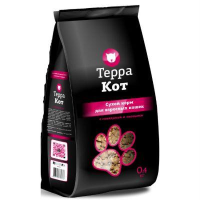 Сухой корм Терра Кот для взрослых кошек (с говядиной и овощами) упак 0.4 кг