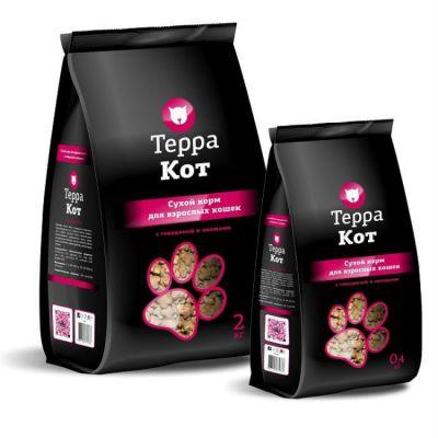 Сухой корм Терра Кот для взрослых кошек (с говядиной и овощами) упак 2 кг