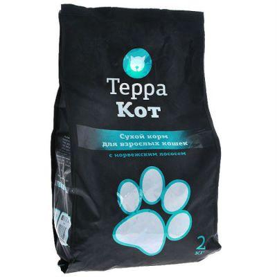 Сухой корм Терра Кот для взрослых кошек (с норвежским лососем) упак 2 кг