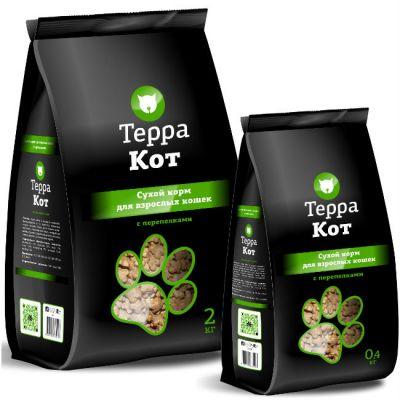 Сухой корм Терра Кот для взрослых кошек (с перепелками) упак 2 кг