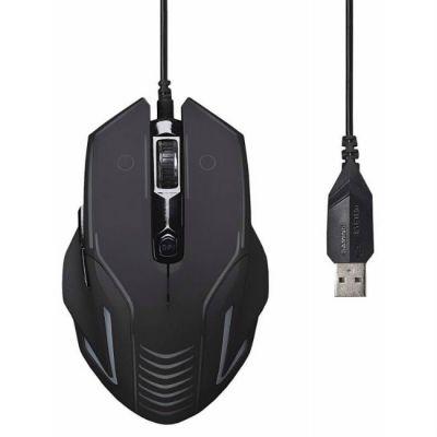 Мышь проводная Oklick 735G INTERCEPTOR черный/голубой