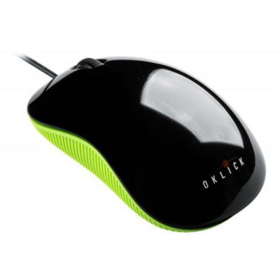 Мышь проводная Oklick 165M черный/зеленый