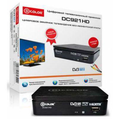 Ресивер D-Color DVB-T2 черный DC921HD