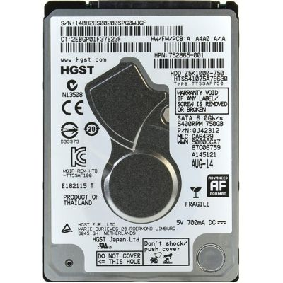 "Жесткий диск Hitachi SATA-III 750Gb Travelstar Z5K1000 (5400rpm) 32Mb 2.5"" HTS541075A7E630"
