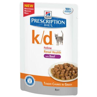 Паучи Hills k/d для кошек лечение почек и МКБ (с говядиной) 85г (2741M)