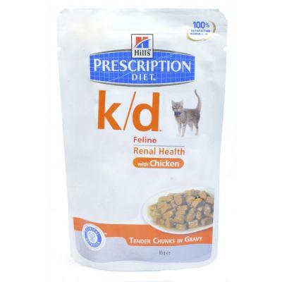 Паучи Hills k/d для кошек лечение почек и МКБ (с курицей) 85г (1187M)