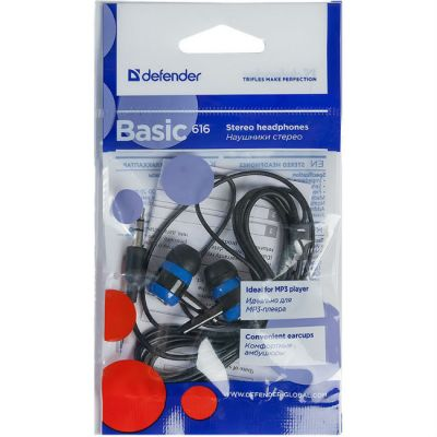 Наушники Defender Basic-616 Black/blue 63616