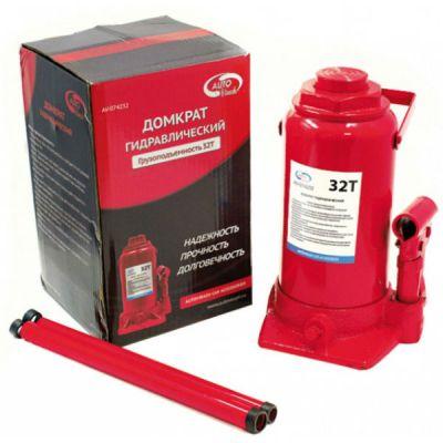 Домкрат AutoVirazh гидравлический 32 т бутылочный в коробке AV-074232 (красный)