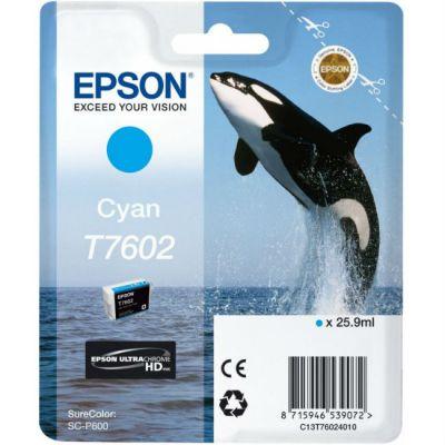 Картридж Epson T7602 Cyan/Голубой (C13T76024010)
