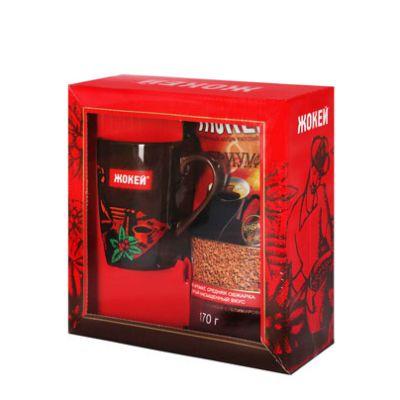 Кофе Жокей Триумф подарочный набор с кружкой (170г, растворимый сублимированный, в мягкой упаковке) 1048-04