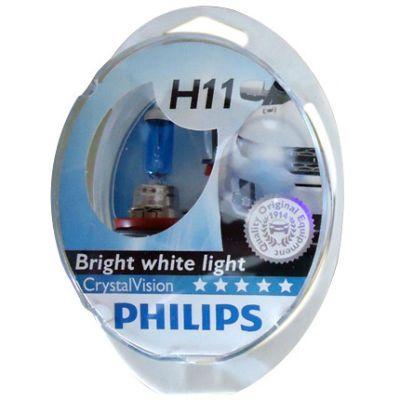Philips Автолампа P-12362CV2 H11 (55) PGJ19-2 CRISTAL VISION 4300K (2шт+2шт W5W) 12V 9185382