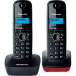 Телефон Panasonic Dect KX-TG1612RU3 черный-красный