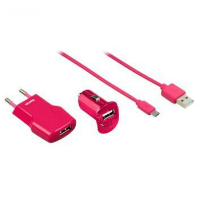 Hama Комплект зар./устр. 1A кабель microUSB розовый 00102007