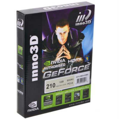 Видеокарта Inno3D 1Gb <PCI-E> G210 c CUDA <GFG210, GDDR3, 64 bit, HDCP, DVI, HDMI, Low Profile, Retail> N210-3SDV-D3BX
