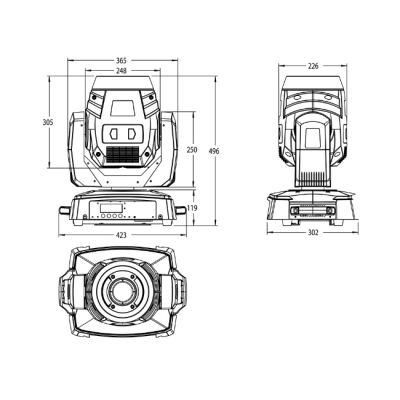 Вращающаяся голова Involight LED MH120S PRO