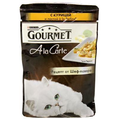 Паучи Gourmet Alcte для кошек кусочки в подливе курица/макар 85г (упак. 24 шт) (12242400)