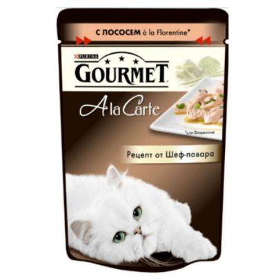 Паучи Gourmet Alcte для кошек кусочки в подливе лосось/овощи 85г (упак. 24 шт) (12242394)